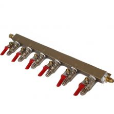 6 -WAY CO2 DISTRIBUTION BAR WITH SHUT-OFF VALVES - MFL