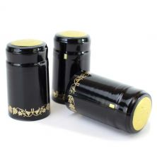 Black/Gold Grapes PVC Shrink Cap (30 Count)