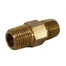 "Hex Nipple - 1/4"" Left Hand Thread to 1/4"" Right Hand Thread"