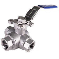 "1/2"" FPT 3 Way Ball Valve - L Port - Stainless Steel"