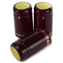 Burgundy/Gold Grapes PVC Shrink Caps Wine