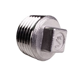 "Square Plug - 1/2"" NPT - Stainless Steel"